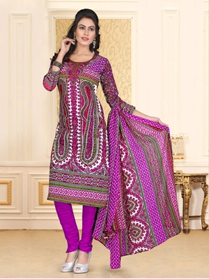 Picture of 1005White and Magenta and Green Chudidar Suit