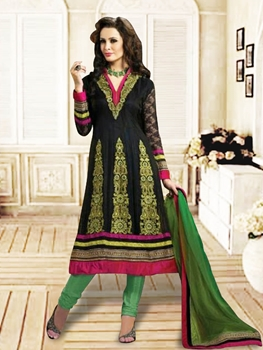 Picture of 1215Black and Green Anarkali Suit