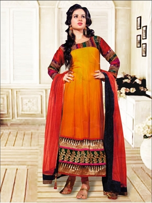 Picture of 801B Orange and Red Anarkali Suit