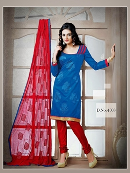 Picture of 1003 Teal Blue and Red Chudidar Suit