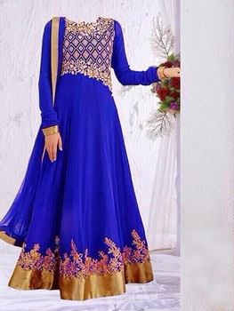Picture of 04 Royal Blue and Golden Anarkali Suit Replica