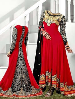 Picture of Red and Black Anarkali Suit