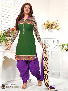 Picture of 08Green and Violet Patiala Suit
