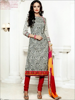 Picture of 66016White and Red Chudidar Suit