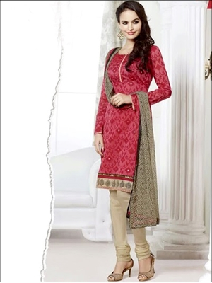 Picture of 66014Dark Pink and Beige Chudidar Suit