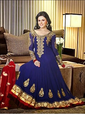 Picture of 08Dark Blue and Red Anarkali Suit