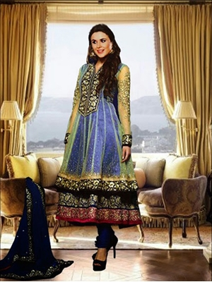 Picture of 06Blue and Golden Anarkali Suit