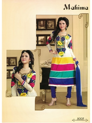 Picture of 3005White and Blue Cotton Anarkali Suit