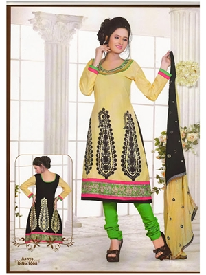 Picture of 1008Beige and Black Anarkali Suit