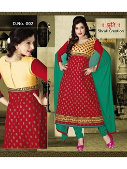 Picture of 002Red and Dark Sea Green Anarkali Suit