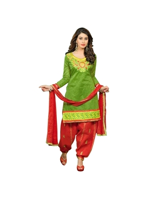 Picture of 9006 Green and Red Patiyala Suit