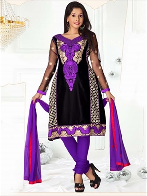 Picture of 8009Black and Purple SemiAnarkali Suit