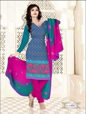 Picture of 6012 Teal Blue and Pink Salwar Suit