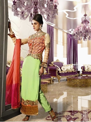 Picture of 8002Light Green and Carrot Red Designer Suit