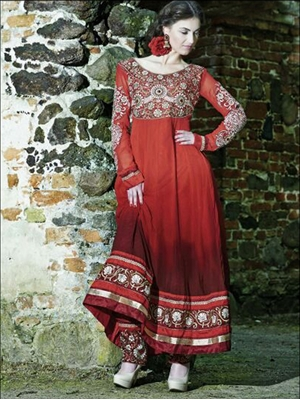 Picture of 2002 Red and Golden Designer Anarkali Suit