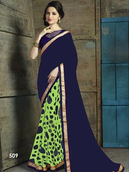 Picture of 509Blue and Light Green Designer Saree