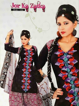 Picture of 1322 Black and Magenta Salwar Suit