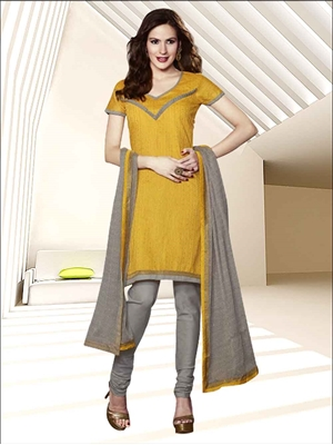 Picture of 58002Yellow and Grey Chanderi Chudidar Suit