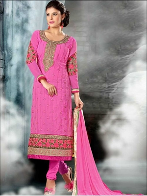 Picture of 3004Pink and Golden Straight Suit