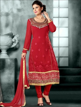 Picture of 3005Red and Golden Straight Suit