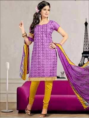 Picture of 2003 Purple and Yellow Chanderi Chudidar Suit