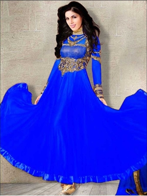 Picture of 72005Royal Blue and Golden Anarkali Suit