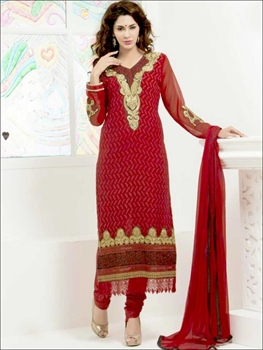Picture of 26006Maroon Red and Golden Straight Suit