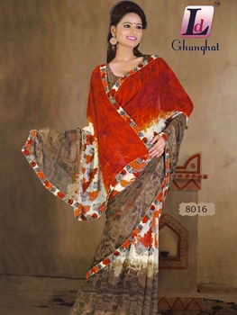 Picture of 8016 Red Printed Chiffon Saree