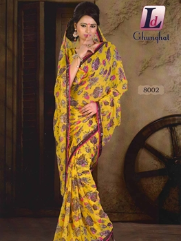 Picture of 8002 Yellow Printed Chiffon Saree