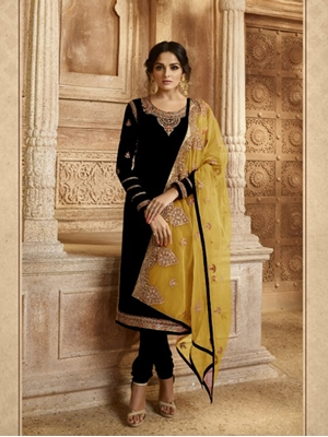 Picture of R3008A Georgette  With Embroidery work Designer Suit