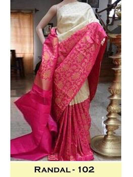 Picture of 102 Randal Satin Gota Digital Print Saree