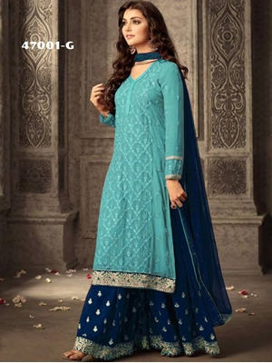 Picture of 47001G Turquoise and Blue Georgette Plazo Replica Suit