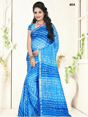 Picture of 404 Sky Blue Designer Art Silk Bandhej Saree