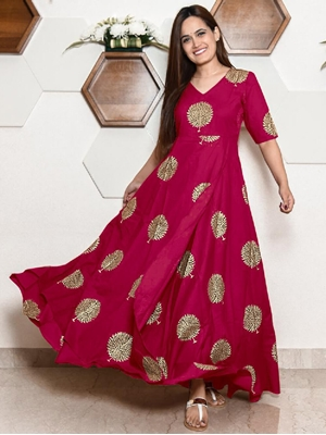 Picture of KK29A Rayon With Block Print Designer Gown Collection