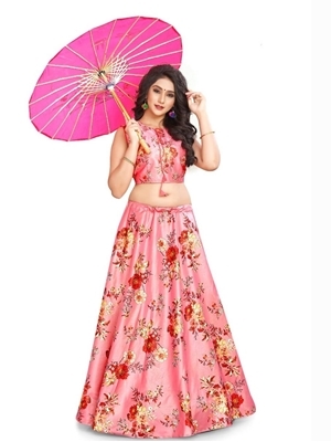 Picture of GE03 Digital Printed Designer Lehenga With Croptop