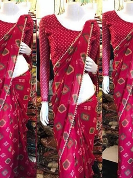 Picture of KD53 Pink  Designer Georgette Saree