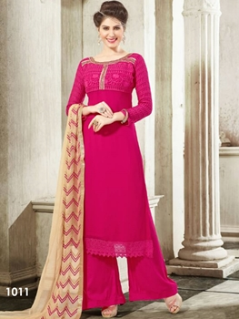 Picture of 1011 Dark Magenta Designer Georgette Plazo Suit