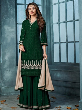 Picture of 801D HEAVY FAUX GEORGETTE WITH EMBROIDERY Plazo Suit Collection