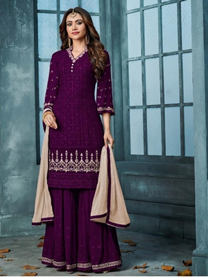 Picture of 801B HEAVY FAUX GEORGETTE WITH EMBROIDERY Plazo Suit Collection