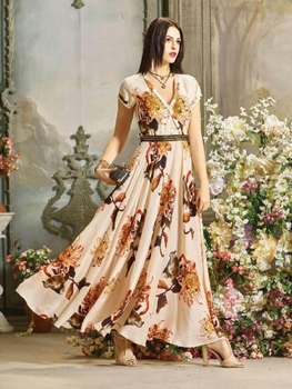 Picture of DNO24 Digital Printed Poly Rayon Gown Collection