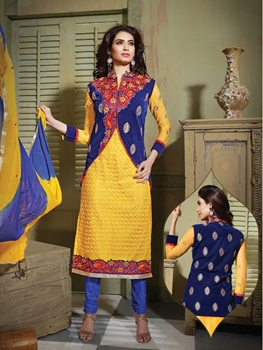 Picture of 6103Yellow and RoyalBlue Party Wear Pure Nett Straight Suit