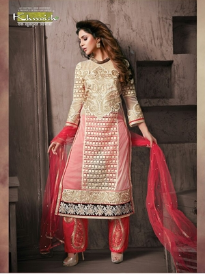 Picture of 5907Ivory and Red Georgette Party Wear Designer Suit