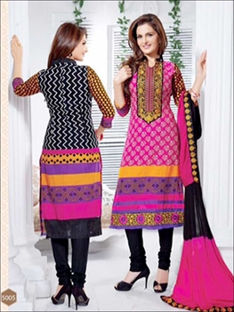 Picture of 5005BrightPink and Black Cotton Straight Suit