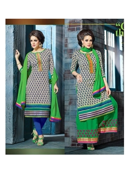 Picture of 1105Beige Green and RoyalBlue Plazo Suit