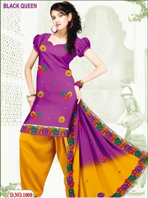 Picture of 1009Purple and Chrome YellowCotton Salwar Suit