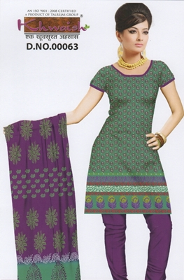 Picture of 63DarkSeaGreen and Purple Cambric Cotton Chudidar Suit