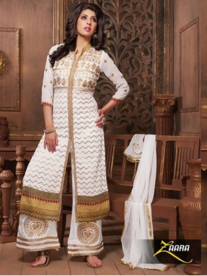 Picture of 9605 White Embroidered Georgette Straight Suit