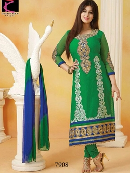 Picture of 7908 Green and Blue Straight Suit