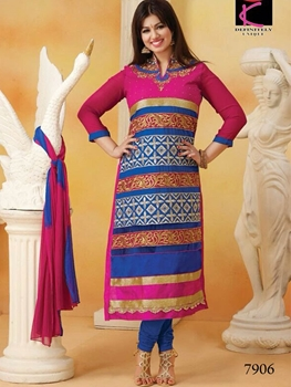 Picture of 7906 Magenta and Blue Straight Suit