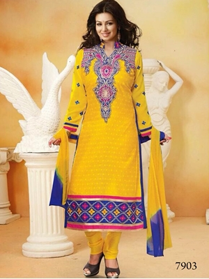 Picture of 7903 Yellow and Blue Straight Suit